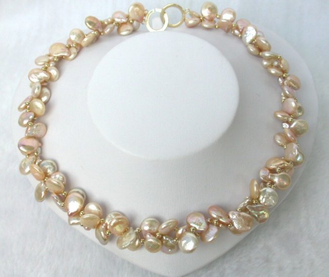CLASSIC double 13mm pink ROUND coin pearls Necklace