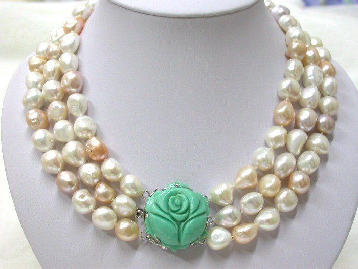 15mm white pink baroque pearls Necklace turquoise clasp