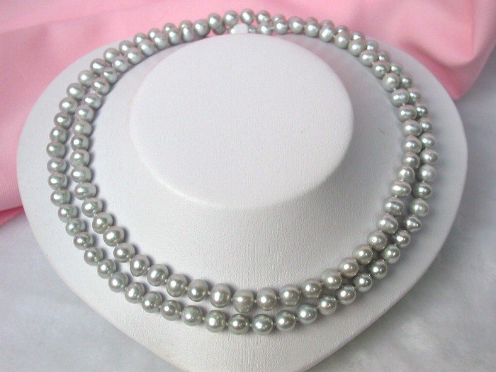 LONG great luster 35 8mm grey pearls necklace
