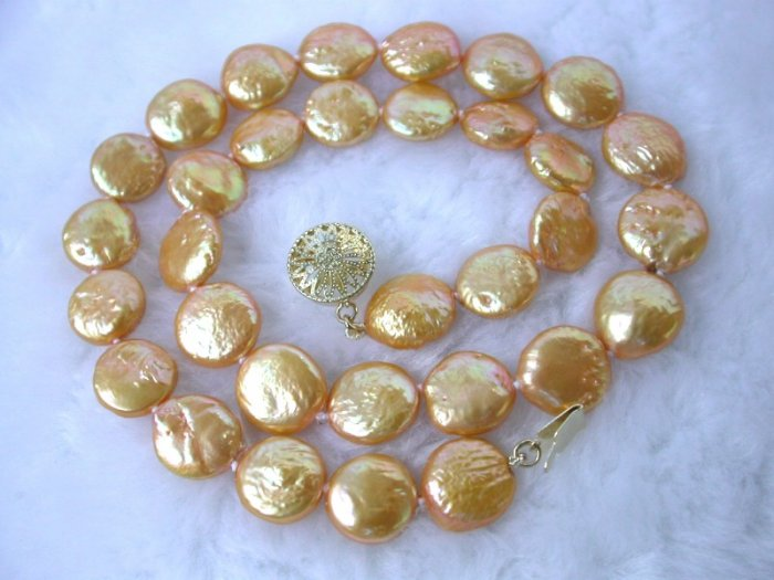 RARE 13mm gold color round coin cultured pearl necklace