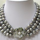 WONDERFUL BIG 3str baroque grey pearls necklace