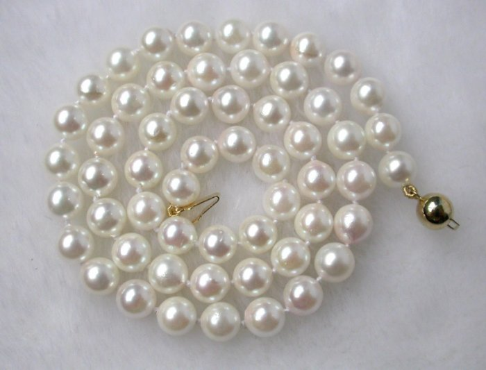 akoya 8mm round sea water white pearls necklace 9k