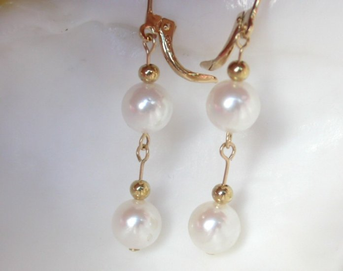 8mm white saltwater pearls dangle earrings 14k