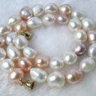 baroque 15mm pink whtie pearls Necklace