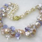 double pink coin cultured pearls Necklace 9k gold