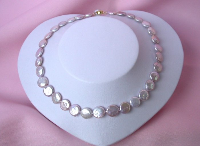 exquisite 14mm lavender coin cultured pearl necklace