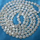 stunning 50'' 13mm round white coin pearls necklace