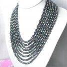 stunning 8strand round black freshwater pearls necklace