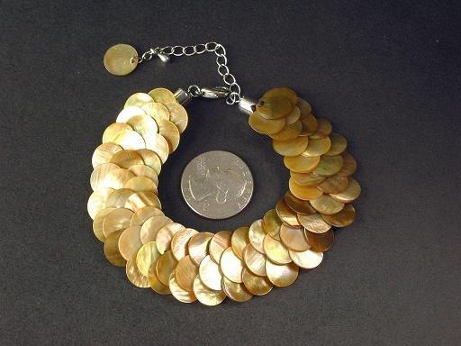 Bracelet Gold MOP Thin Slice Knit