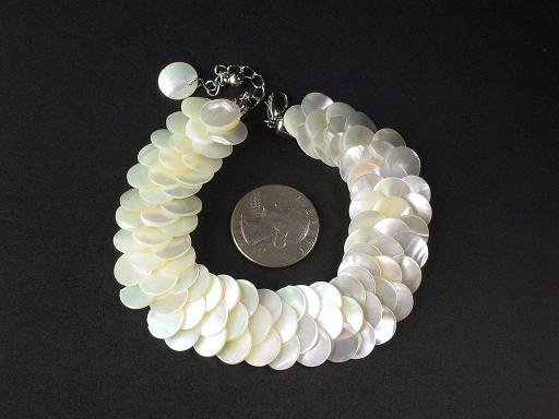 Bracelet White MOP Thin Slice Knit