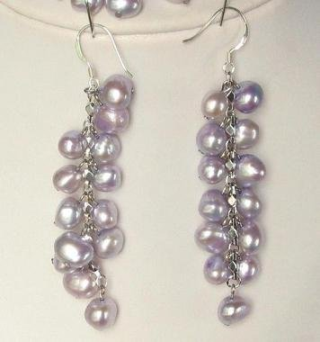 Earings Dangle FW Lavender Purple Pearls 925 SIlver