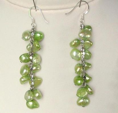 Earings Dangle FW Peridot Green Pearls 925 SIlver