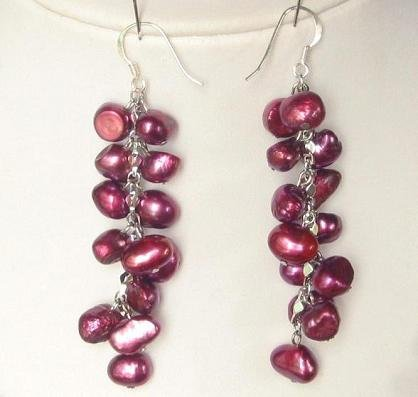 Earings Dangle FW Scarlet Red Pearls 925 SIlver