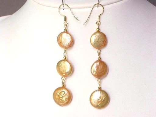 Earrings Biwa Coin Pearls 14mm Gold 14K Dangle