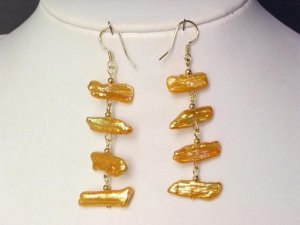 Earrings Biwa Pearls 12mm Gold 14K Dangle