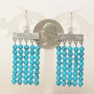 Earrings Blue Turquoise 5 Strands 4mm Round Beads
