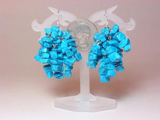 Earrings Blue Turquoise 9 Strands Chips Dangle
