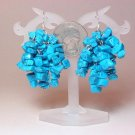 Earrings Blue Turquoise 9 Strands Chips Dangle