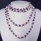 Necklace 60'' FW Pearls 9mm Amethyst Chips 14K