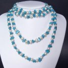 Necklace 60'' FW Pearls 9mm Blue Turquoise Chips 14K
