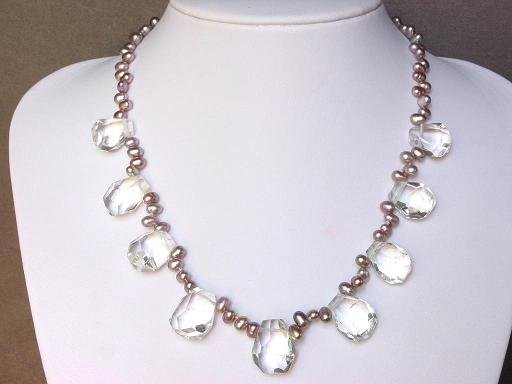 Necklace AAA Clear Quartz Irregular Facet with Pearls