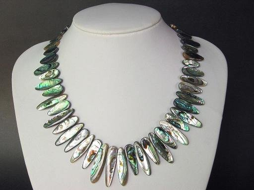 Necklace Abalone Shell Long Oval Rainbow Luster