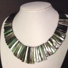 Necklace Black Abalone Shell Long Strips Rainbow Luster