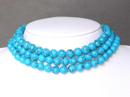 Necklace Blue Turquoise 3 Strands Round Beads
