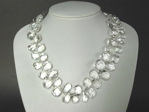Necklace Clear White Quartz Facet Briolettes