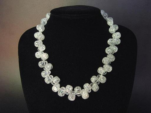 Necklace Cracky White Quartz Briolettes