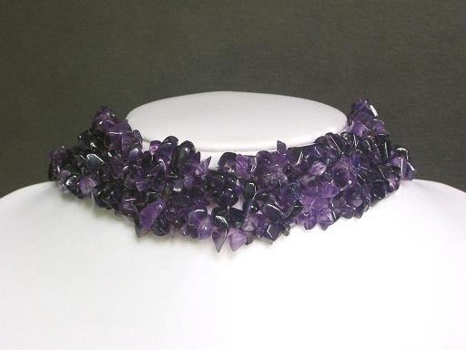 Necklace Dark Amethyst Chips Knit Choker Collar Purple