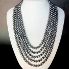 Necklace FW 8mm Grey Pearls 5 Strands Loops