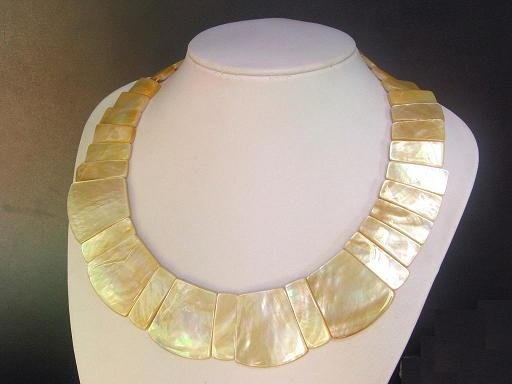 Necklace Golden MOP Large and Small Rectangle 33mm