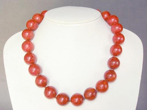 Necklace Golden Red Sponge 17mm round Coral Bead