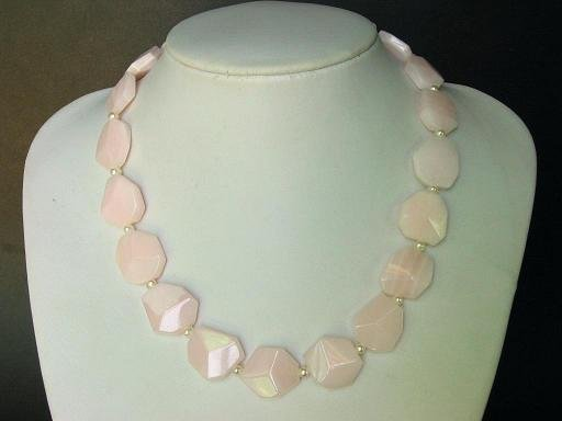 Necklace Mangano Pink Calcite Flat Facet Stones 925