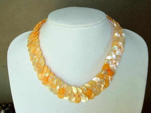 Necklace Orange Abalone Shell Thin Slice Knit