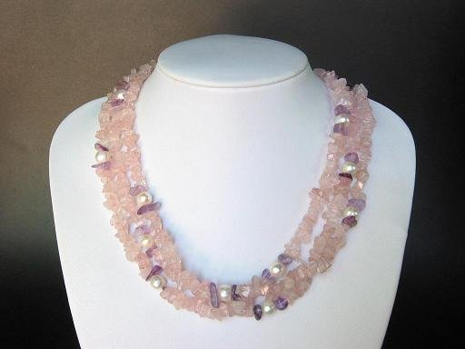 Necklace Pink Quartz 3 Strands Chips with FW White Pearls