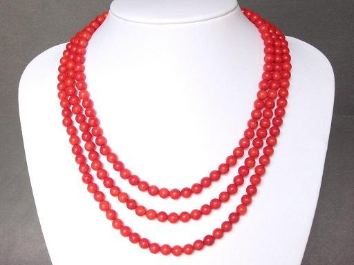 Necklace Red Coral 3 Strands Round Beads