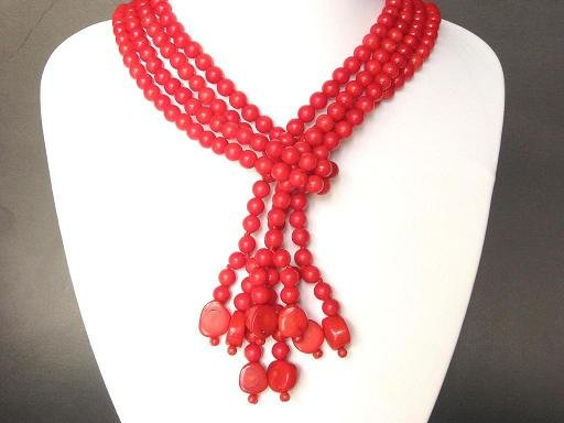 Necklace Red Coral 45'' 2 Strand Beads