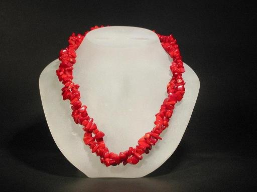 Necklace Red Coral Double Twist Nugget Chips