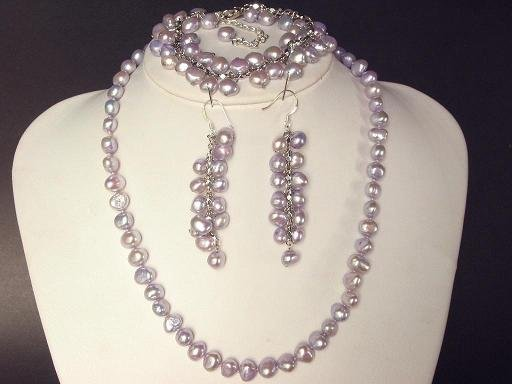 Necklace Set 8mm Lavender Purple FW Pearl Baroque