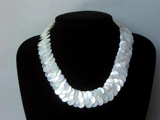Necklace White abalone Shell Thin Slice Knit