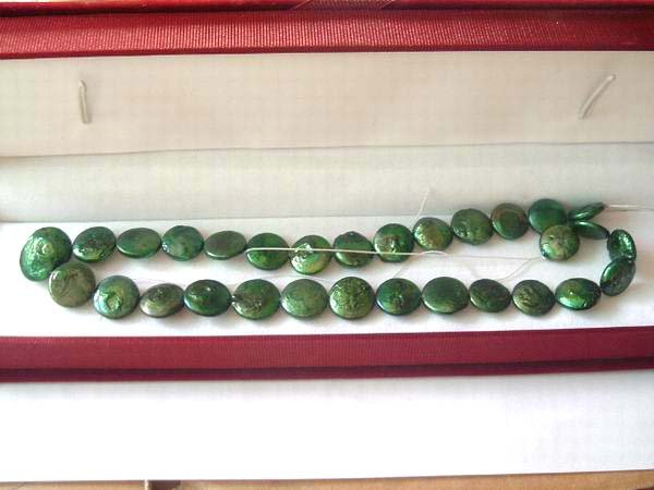 2 strand 13 mm peacock green coin freshwater pearl