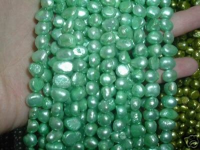 10 strand 7-8 mm nugget freshwater pearl loose string-green