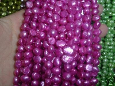 10 strand 7-8 mm nugget freshwater pearl loose string-purple pin