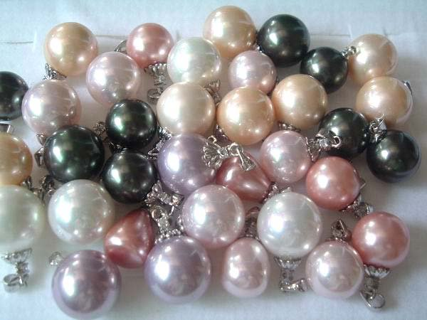 35 pcs 12-16 mm sea shell pearl necklace pendant