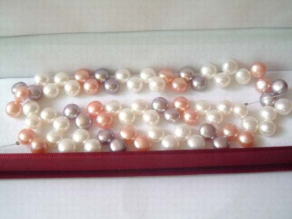 AA+ 10 strands 8 mm pushbutton freshwater pearl