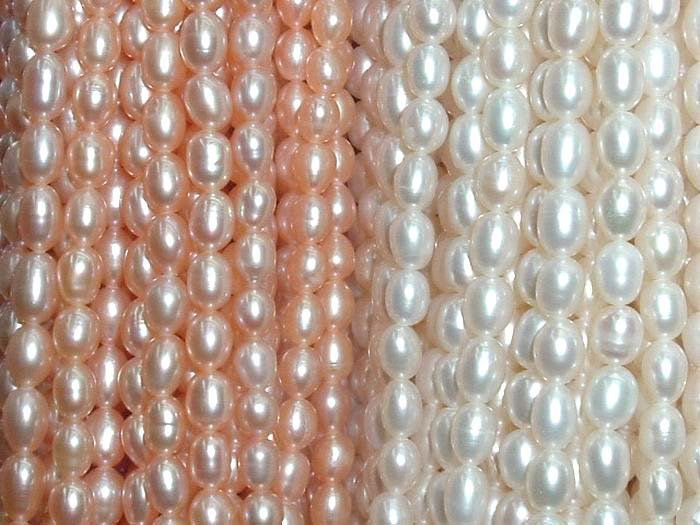 AAA 10 strand 5-6 mm mix rice freshwater pearl string