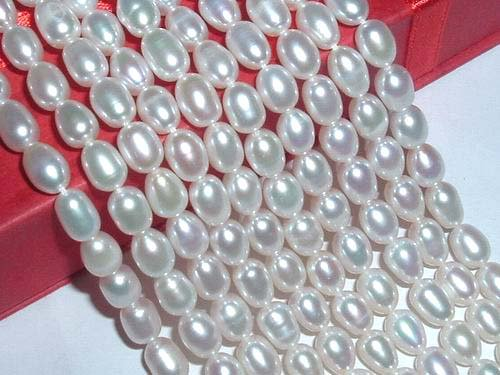 AAA 10 strand 5-6 mm white rice freshwater pearl string