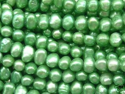 wholesale 10 strand 6-7 mm nuggets shape fw pearl-apple green